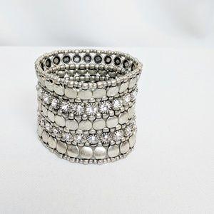 Cara NY Silver & Rhinestone Stretchy Cuff Bracelet